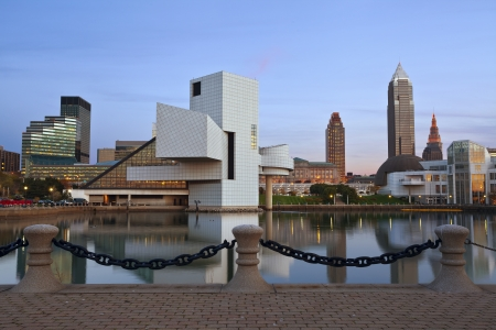Cleveland  Image of Cleveland harbor district at twilight  Stock Photo