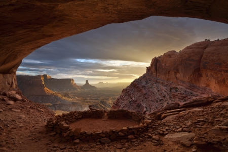 cavern: Anasazi ruins. Image of the Anasazi ruins, called False Kiva in Canyonlands National Park, Utah, USA.