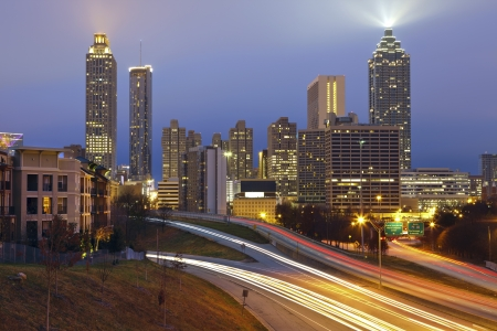 Atlanta. Image of the Atlanta skyline during twilight blue hour. photo