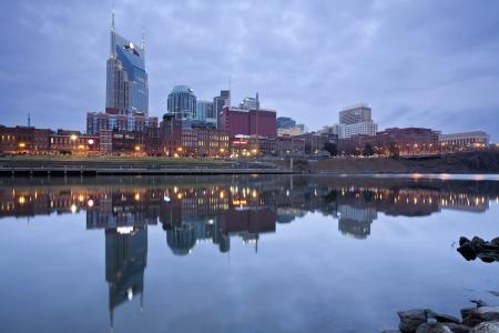 Nashville. Image of Nashville, Tennessee during twilight blue hour.