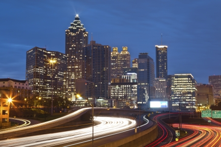 Atlanta  Image of the Atlanta skyline during twilight blue hour  photo