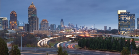 Atlanta. Panoramic image of Atlanta skyline at twilight.  photo