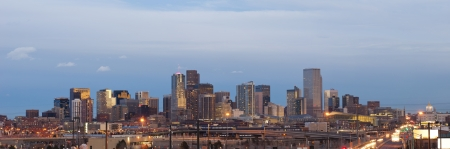 denver skyline: Denver. Panoramic image of Denver skyline at sunset.