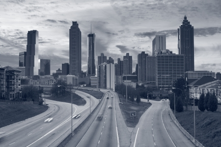 Atlanta. Toned image of Atlanta skyline and highway leading to the city. photo