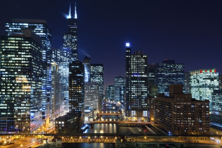 Chicago: Chicago at night. Image of Chicago downtown and Chicago River with bridges at night.