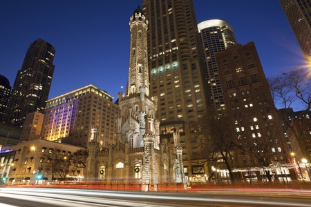 the water tower: Chicago Water Tower. Image of Chicago Water Tower and Michigan Avenue during twilight blue hour.