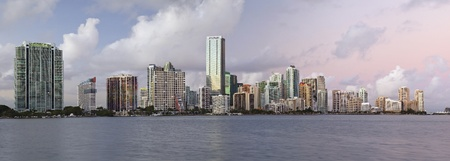 Miami Skyline Panorama. Panoramic image of Miami downtown skyline during sunset.  photo