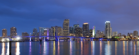 Miami Skyline. Panoramic image of Miami downtown skyline at night.  photo