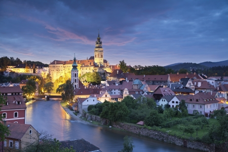 Cesky Kromlov, Czech Republic  Image of Cesky Krumlov, located in southern Czech Republic at twilight Banco de Imagens - 20137742