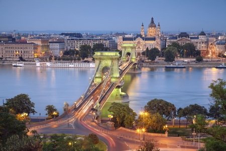 Budapest  Image of Budapest, capital city of Hungary, during twilight blue hour  photo