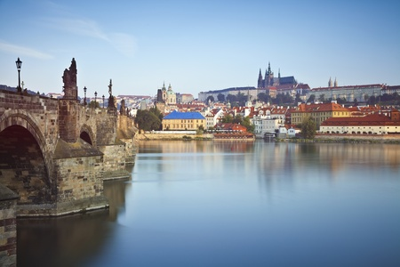 Prague  Long exposure day shot of Prague, capital city of Czech Republic  photo