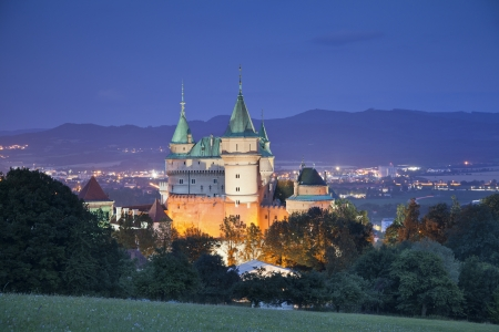 Bojnice Castle  Image of medieval Bojnice Castle at night, located in Slovakia, Eastern Europe Stock Photo - 22005402