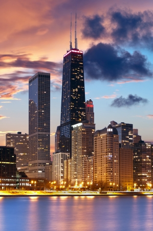 hancock building: Chicago skyline  Image of Chicago downtown skyline during beautiful sunset  Stock Photo