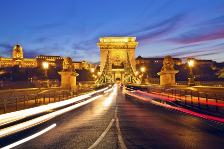 Szechenyi Chain Bridge, Budapest  Image of Chain Bridge in Budapest during sunset  Stock Photo - 23117500