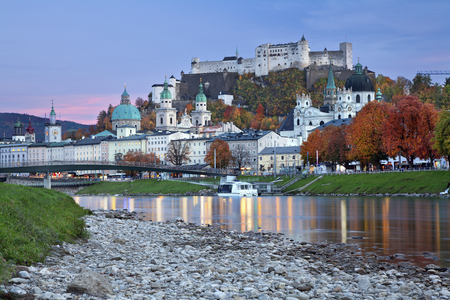 Salzburg, Austria  Image of Salzburg during twilight blue hour  photo