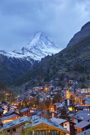 zermatt: Zermatt and Matterhorn  Image of Zermatt and the Matterhorn taken during twilight blue hour