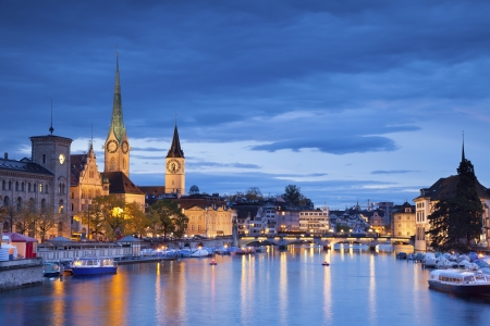 switzerland: Zurich  Image of Zurich during twilight blue hour