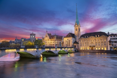 Zurich  Image of Zurich, capital of Switzerland, during dramatic sunset Stock Photo - 23332357