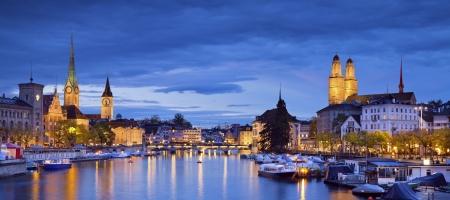 Zurich  Panoramic image of Zurich during twilight blue hour