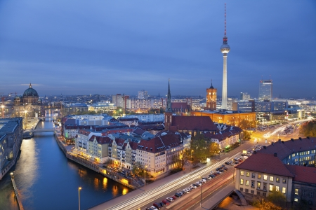 Berlin  Aerial view of Berlin during twilight blue hour