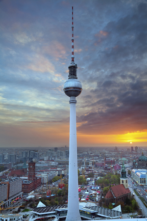 upperdeck view: TV Tower in Berlin  Image of the TV Tower in Berlin during sunset