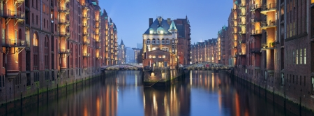 Speicherstadt Hamburg  Panoramic image of Hamburg- Speicherstadt during twilight blue hour