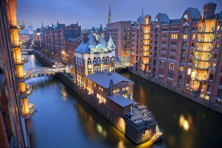 Hamburg- Speicherstadt  Image of Hamburg- Speicherstadt during twilight blue hour   photo
