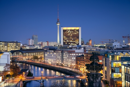 Berlin  Aerial view of Berlin, capital city of Germany, during twilight blue hour  photo