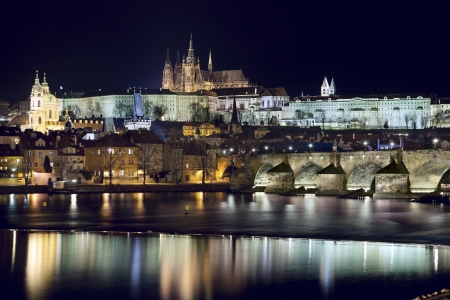 Prague at night  Image of Prague, capital city of Czech Republic at night  photo