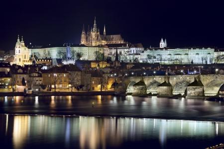 Prague at night  Image of Prague, capital city of Czech Republic at night  photo