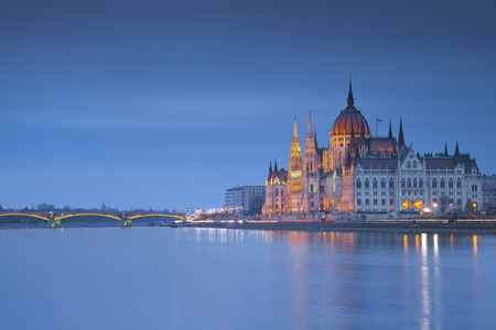 Budapest  Image of hungarian parliament in Budapest during twilight blue hour  photo