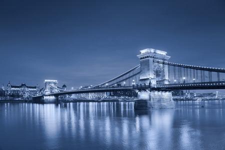 toned image: Budapest  Toned image of Budapest, capital city of Hungary, during twilight blue hour