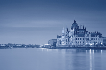 Budapest  Toned  image of hungarian parliament in Budapest during twilight blue hour  photo
