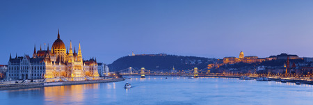 Budapest  Panoramic image of Budapest, capital city of Hungary, during twilight blue hour  photo