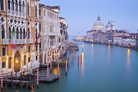 Venice  Image of the Grand Canal in Venice, with Santa Maria della Salute Basilica in the background   photo