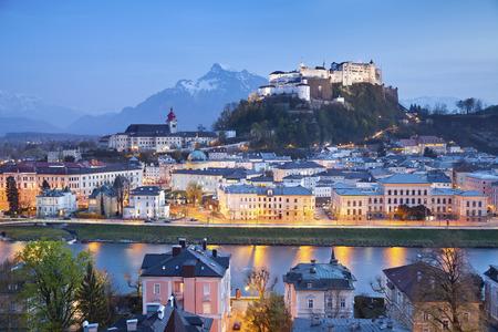 Salzburg, Austria  Image of Salzburg during twilight blue hour Stock Photo