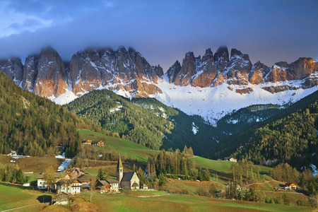 Italian Alps  Beautiful St  Magdalena village in a gorgeous Funes Valley located in Italian Alps  photo