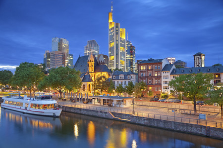 Frankfurt am Main  Image of Frankfurt am Main skyline during twilight blue hour  photo