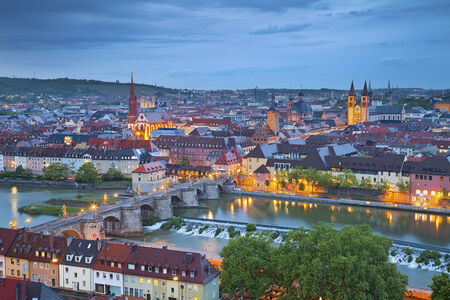 main river: Wurzburg with Main River during twilight blue hour