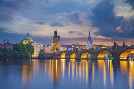 Prague  Image of Prague, capital city of Czech Republic and Charles Bridge, during twilight blue hour  photo