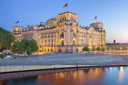 Berlin Reichstag  Image of illuminated Reichstag Building in Berlin, Germany  photo