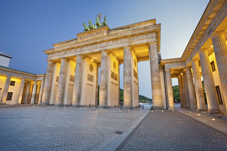 brandenburg: Brandenburg Gate  Image of Brandenburg Gate in Berlin during twilight blue hour  Stock Photo