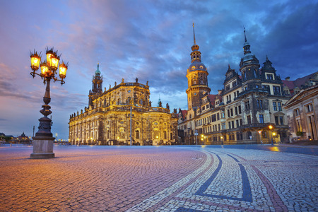 Dresden  Image of Dresden, Germany during twilight blue hour  Stock Photo