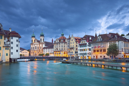 Lucerne  Image of Lucerne, Switzerland during stormy evening  photo