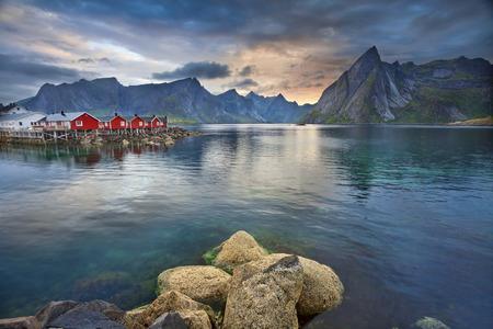 fishing village: Lofoten Islands  Image of Lofoten Islands, Norway during beautiful sunset