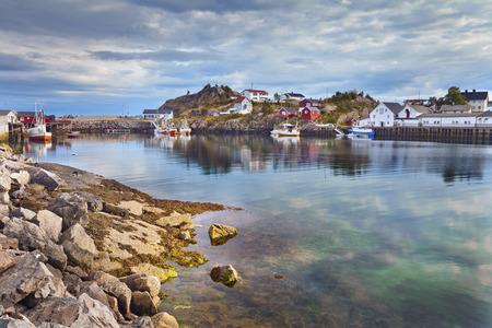 scandinavian peninsula: Village in Norway  Image of fishing village in Lofoten Islands area in  Norway  Stock Photo