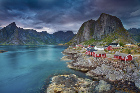 Norway  Image of Lofoten Islands, Norway during beautiful sunset
