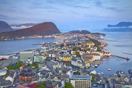 atlantic city: Alesund, Norway  Image of norwegian city of Alesund during sunrise  Stock Photo