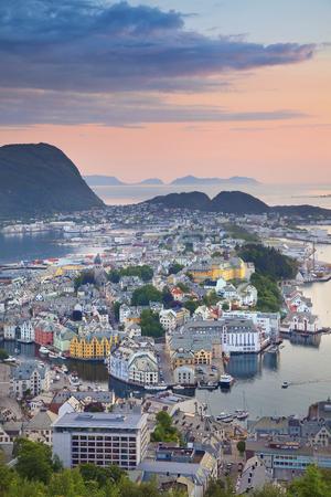 alesund: norwegian city of Alesund during sunset.
