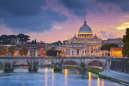 st peter: Rome.View of St. Peter cathedral in Rome, Italy during beautiful sunset. Stock Photo